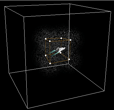 space dust pockets around the ship on a grid